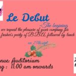 Le Debut – A Fresher's Party  for BBA on 25th Sept.'17