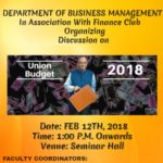 Union Budget Discussion 2018-19 by Finance Club for Management Students