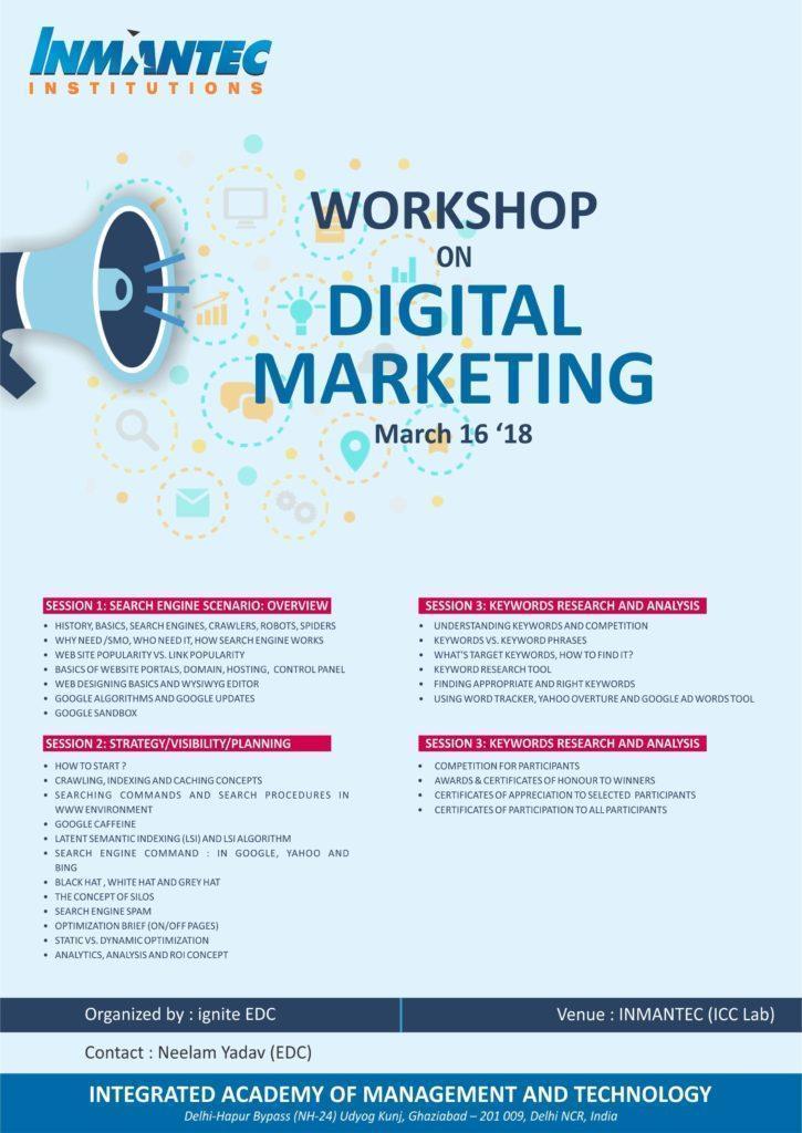 Workshop on Digital Marketing   Inmantec Institutions